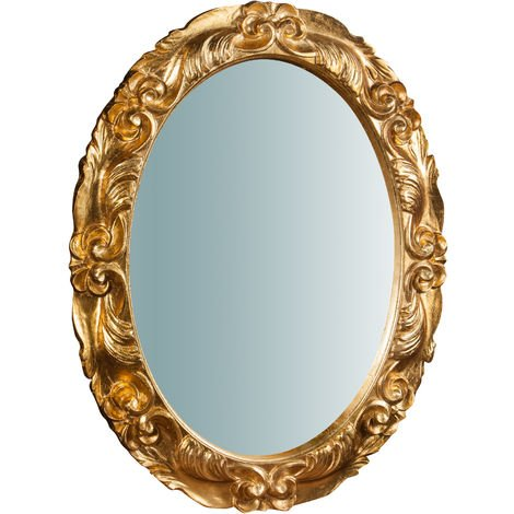 Espejo de pared vertical/horizontal de madera acabado hoja de oro envejecida L66XPR4,5XH88 cm Made in Italy