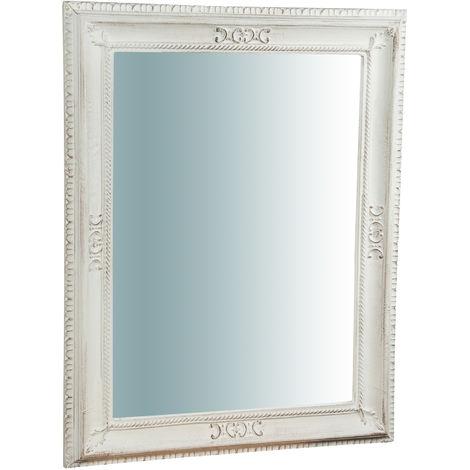 Espejo de pared vertical/horizontal de madera acabado hoja de oro envejecida L67XPR4,5XH87 cm Made in Italy