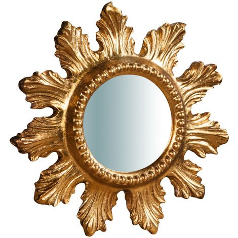 Espejo de pared vertical/horizontal de madera acabado hoja envejecida L23XPR2,5XH23 cm Made in Italy