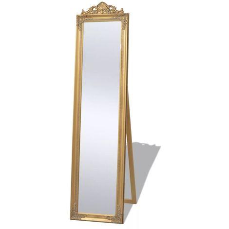 Espejo de pie estilo barroco 160 x 40 cm dorado
