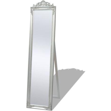 Espejo de pie estilo barroco plateado 160x40 cm