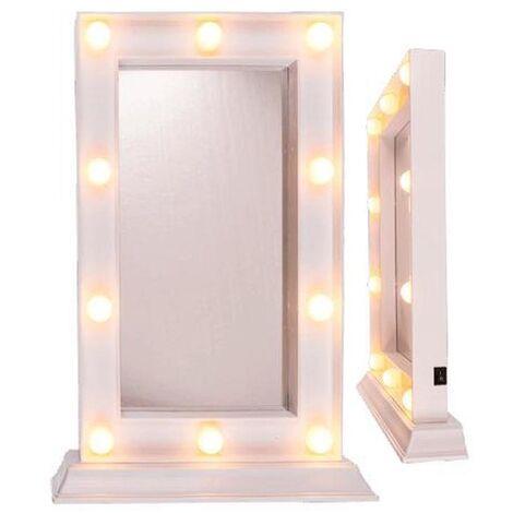 Espejo de Plástico con 10 Luces Led Blancos
