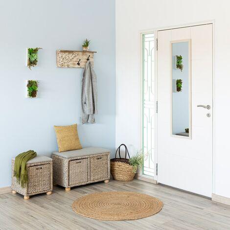 Espejo de puerta blanco nórdico de madera de 35 x 125 cm