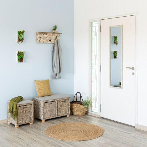 Espejo de puerta blanco nórdico de plástico de 35 x 125 cm