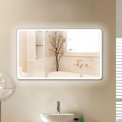 ESPEJO DE SALA CON ESQUINAS REDONDAS LED 120 * 70 CM DALLAS Espejo de baño LED de pared para maquillaje con luz y tacto