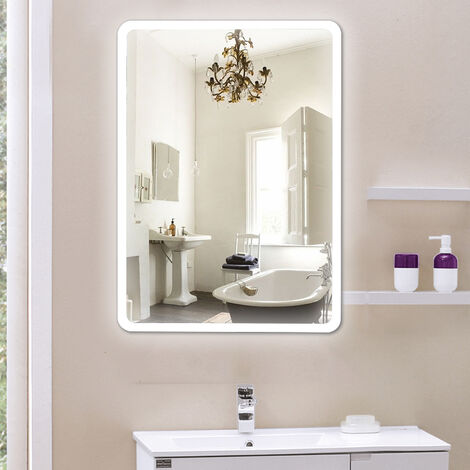 ESPEJO DE SALA CON LED ÁNGULOS REDONDOS 50 * 70 CM DALLAS Espejo de baño LED de pared para maquillaje con luz y tacto