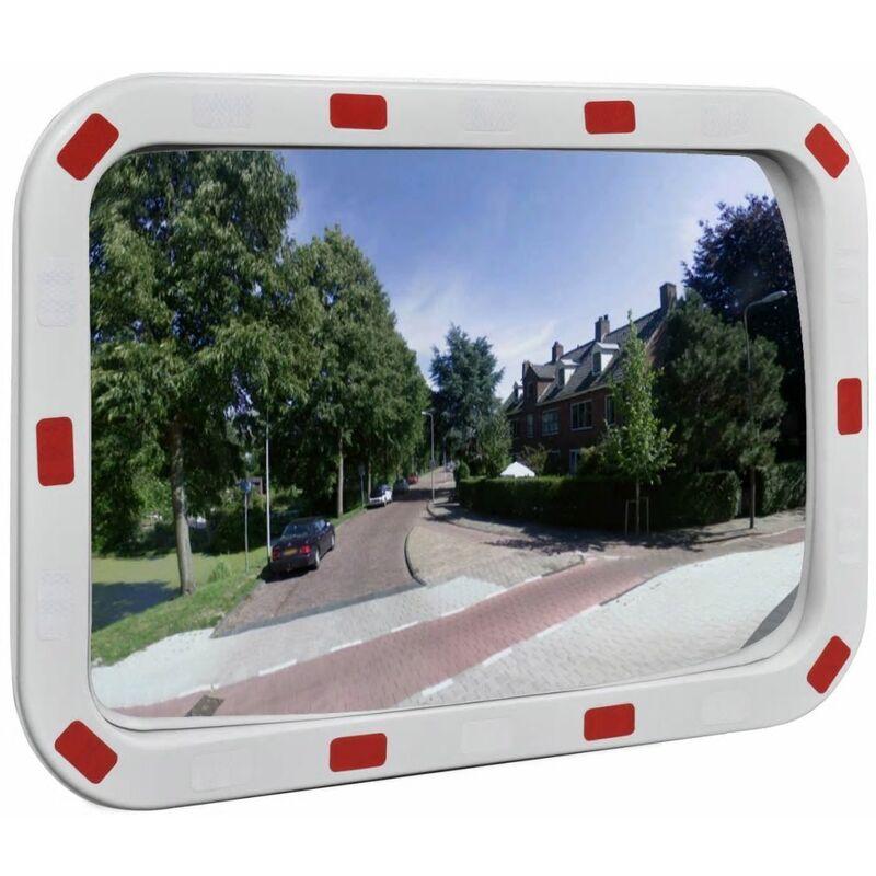 Espejo de trafico convexo rectangular con reflectores 40 x 60cm