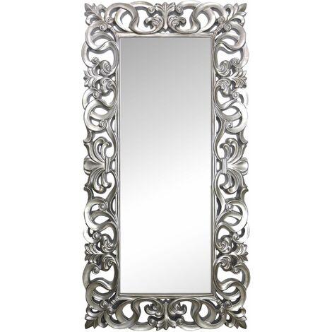"main image of ""Espejo Decorativo de Pared, Barroco, Modelo Goya - Medida Exterior 88x178 cm, Medida de Espejo 48x138 cm (Blanco decapé)"""