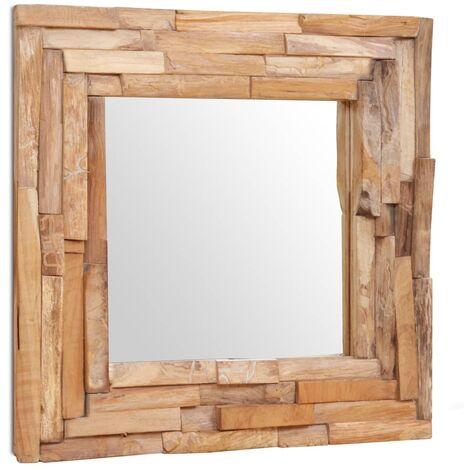 Espejo decorativo de teca 60x60 cm cuadrado - Marrón