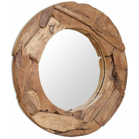 Espejo decorativo de teca 80 cm redondo