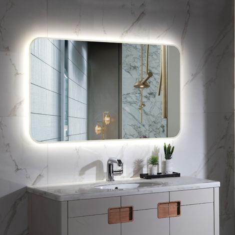 Espejo Decorativo LED con Interruptor Córcega 80W Antivaho Blanco Frío 6000K - 6500K