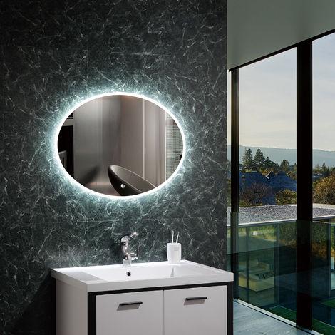 Espejo Decorativo LED con Interruptor Táctil Hawái 45W Antivaho Blanco Frío 6000K - 6500K