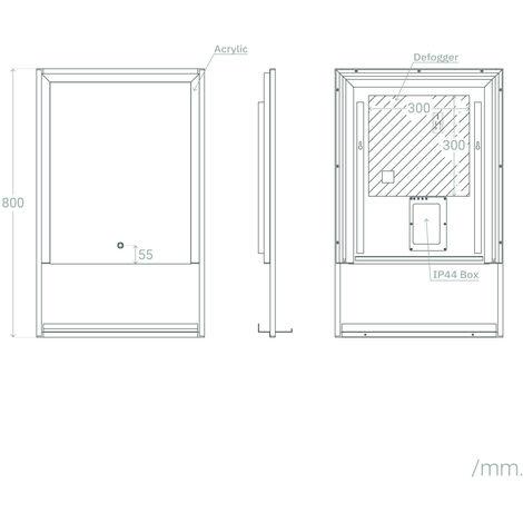 Espejo Decorativo LED Madeira 45W Antivaho Blanco Frío 6000K - 6500K