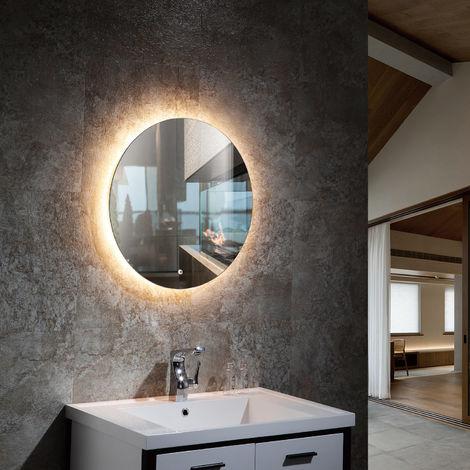 Espejo Decorativo LED Tono de Color Seleccionable Seleccionable con Interruptor Táctil Bermudas 35W Antivaho Ø600