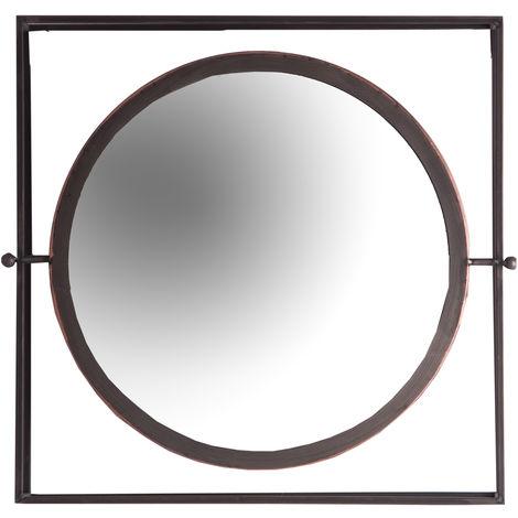 ESPEJO, EN COLOR NEGRO/ORO, DE ESTILO INDUSTRIAL. FABRICADO EN ACERO, COMBINADO CON ESPEJO Y HIERRO..Limpiar con un paño húmedo Medida del marco: 50X50 Medida de la luna: DIAMETRO 39 Modo de Anclaje: PLETINA TORNILLO