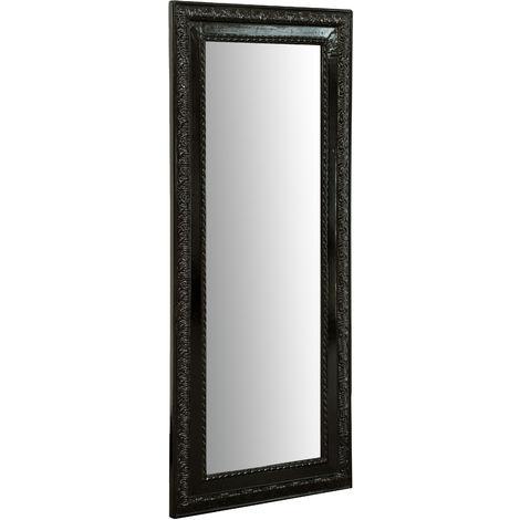 Espejo Espejo de pared y espejo colgante vertical/horizontal L35xPR2xH82 cm acabado negro brillante