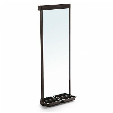 Emuca Espejo extraible para armario, 1130 x 415 mm, cierre suave, Aluminio, color moka