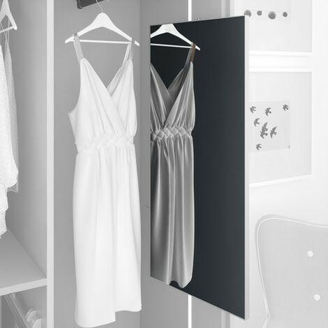 Espejo extraible para armario, 900 x 400 mm, Aluminio, Vidrio y Acero, Anodizado mate