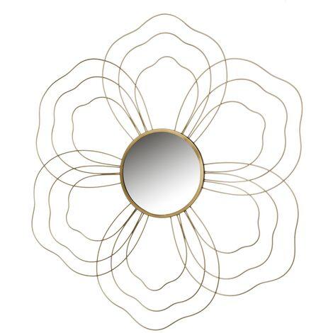 Espejo flor dorado de metal y cristal de 84x78 cm