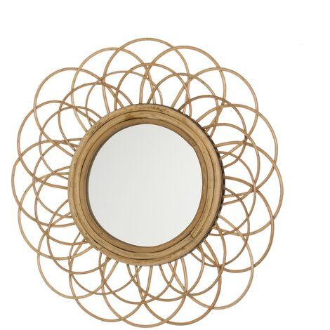 Espejo flor exótico dorado de rattán de 50x50 cm