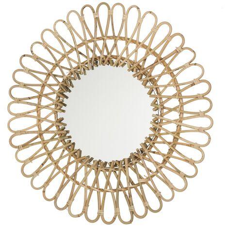 Espejo flor exótico dorado de rattán de 55x55 cm