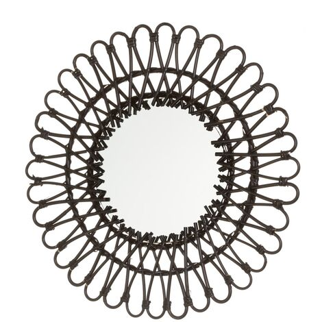 Espejo flor exótico negro de rattán de 55x55 cm