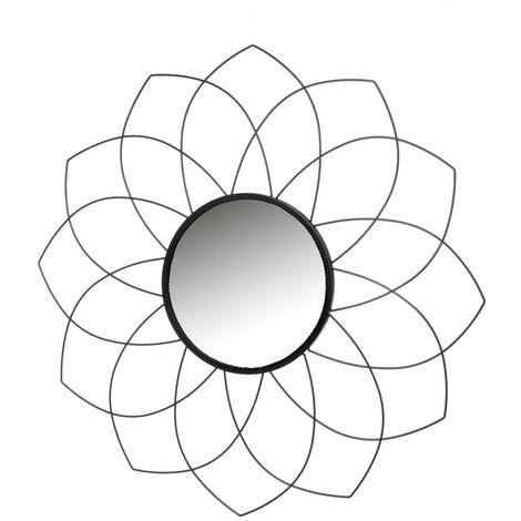 Espejo flor negro de metal y cristal de 79x79 cm
