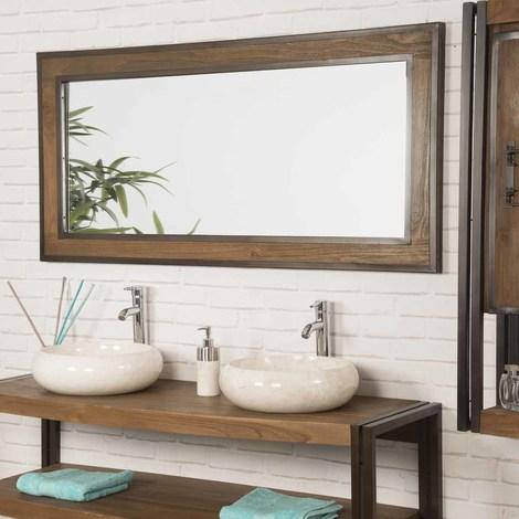 Espejo grande para cuarto de baño Elegancia teca metal 145 x 70 - 1371