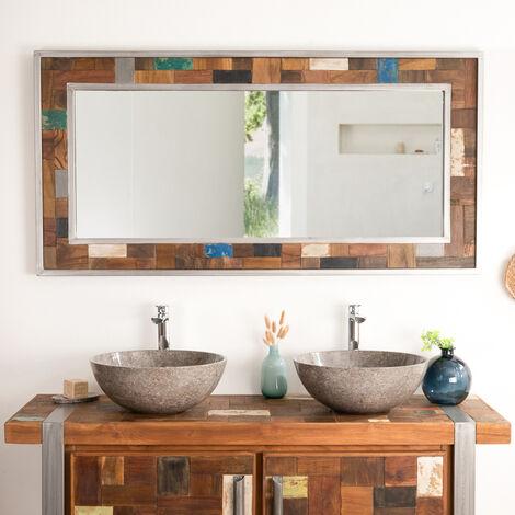 Espejo grande para cuarto de baño Factory madera metal 140 x 70