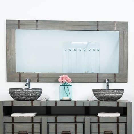 Espejo grande para cuarto de baño LOFT 160 x 80 gris