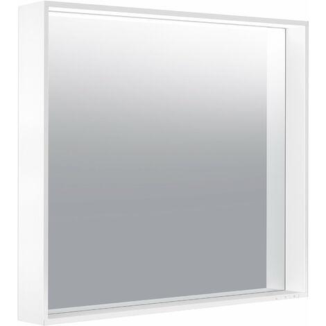 Espejo iluminado Keuco X-Line 33296, 1 color de luz, 3000 Kelvin, 800 x 700 x 105 mm, color: trufas - 33296142500