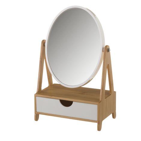 Espejo joyero blanco de bambú nórdico de 27x10x17 cm