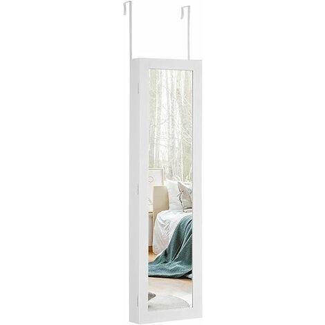 Espejo Joyero con Iluminación LED Armario para Joyas con Espejo Colgante de Puerta Pared