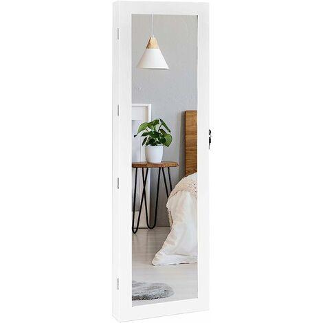 Espejo Joyero Cuelga a Puerta Pared con LED Luces Armario para Joyas 37x8,5x120cm con Bloqueo 2 Cajones 5 Estantes 29 Ganchos