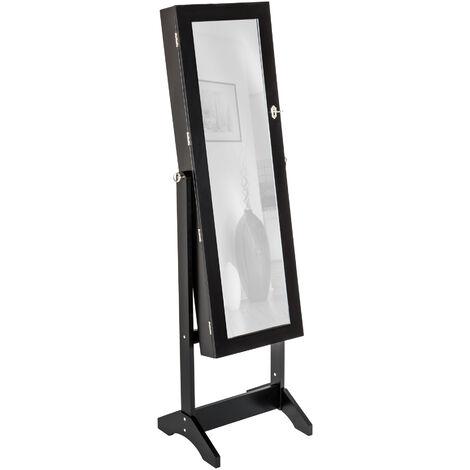 Espejo joyero - mueble joyero de madera, joyero con espejo y soportes para relojes, armario para joyería con ganchos para collares