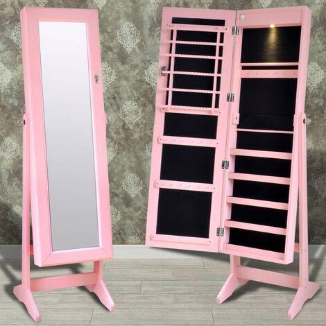 Espejo joyero rosa de pie con luz LED