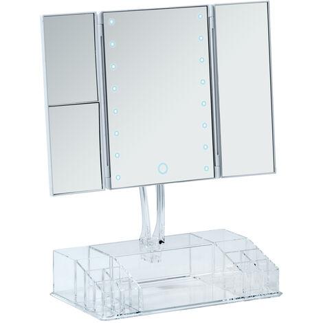 Espejo LED de pie con organizador Fanano