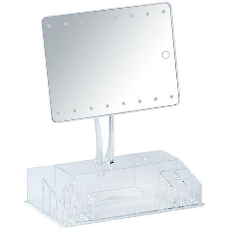 Espejo LED de pie con organizador Farnese