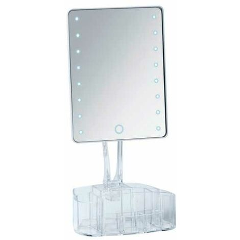 Espejo LED de pie con organizador Trenno