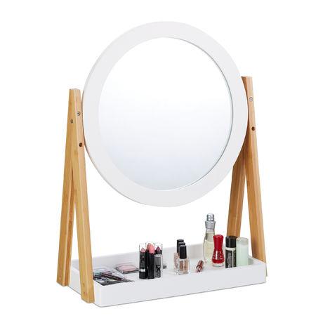Espejo Maquillaje Giratorio con Bandeja, Bambú-DM-Cristal, Blanco-Marrón, 32,5 cm de diámetro