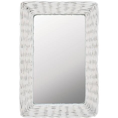 Espejo Mimbre Blanco 40x60 cm