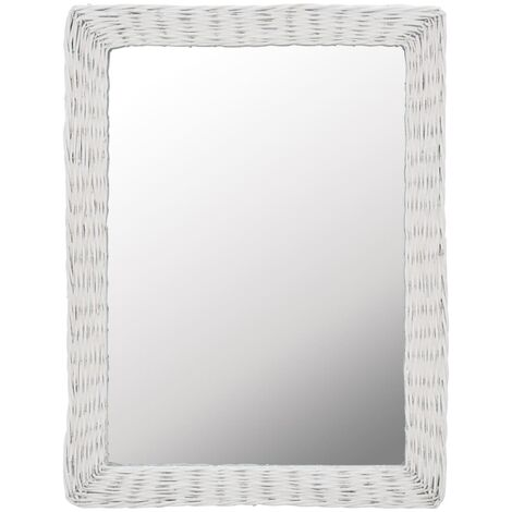 Espejo mimbre blanco 60x80 cm