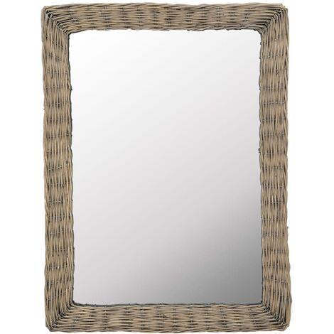 Espejo mimbre marrón 60x80 cm