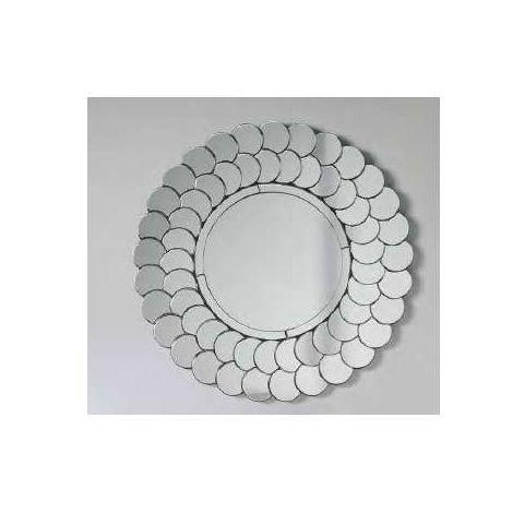 Espejo moderno redondo de 90 plata circulos