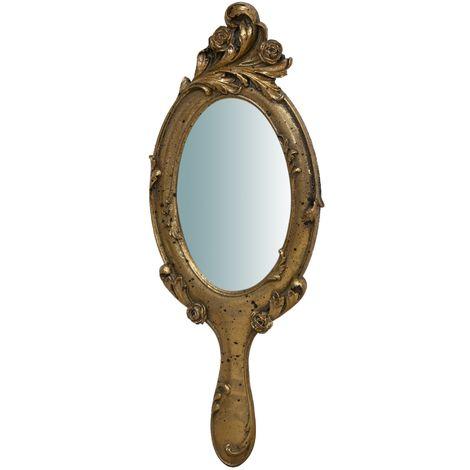 Espejo para colgar, acabado en oro envejecido (cm: 10 x 1 x 25)