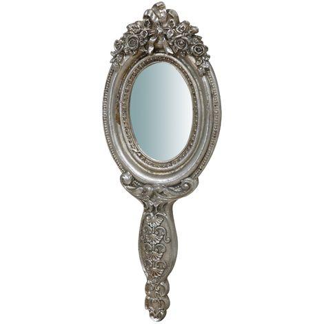 Espejo para colgar, acabado en plata envejecido (cm: 10 x 1 x 25)