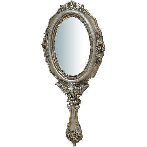 Espejo para colgar, acabado en plata envejecido (cm: 12 x 1,5 x 30)