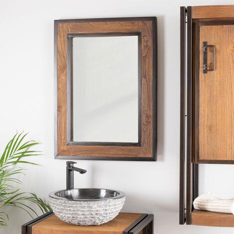 Espejo para cuarto de baño Elegancia madera metal 60 x 80
