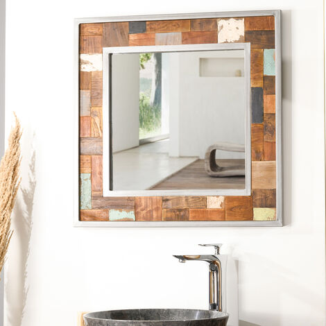 Espejo para cuarto de baño Factory teca metal 70 x 70