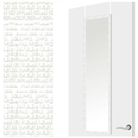 Espejo para Puerta Moderno, Blanco con Diseño de Baldosas, para Dormitorio, sin Agujeros (34,7cm X 1,5cm X 125cm) - Hogar y Más